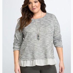 Torrid Heather Gray Ruffle Hem Sweater